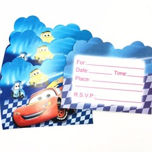 10pcs/set  Lightning Mcqueen Invitation Card Party Birthday Decoration Cartoon Theme Supply Festival Supplies Set