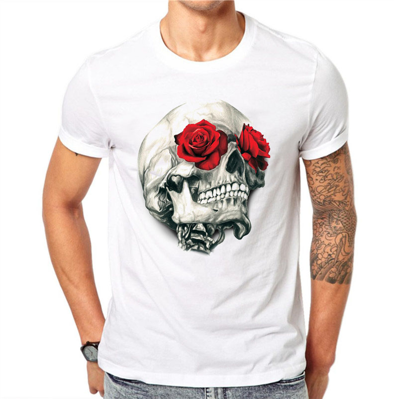 Red Rose Floral Skull Design Short Sleeve Casual Flower Skull Printed T-Shirt Tee Top