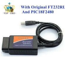 Elm327 usb с оригинальной FT232RL и PIC18F2480 чип с elmconfig программное обеспечение elm 327 usb FT232RL obd сканер высокого качества