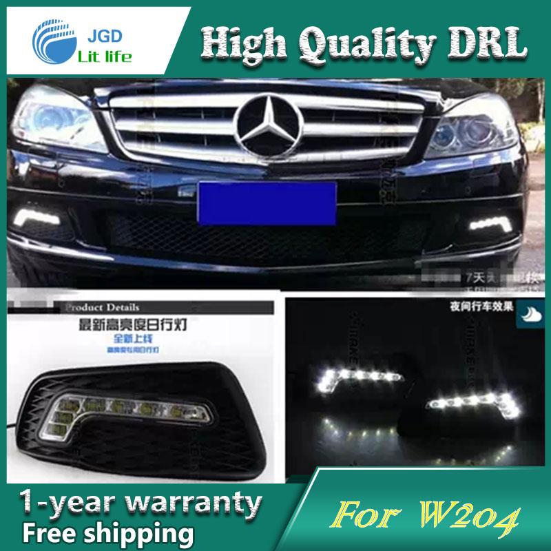 Бесплатная доставка !12В 6000K СИД DRL дневного света чехол для Benz w204 Мерседес 2008-2010 противотуманная фара стайлинга автомобилей