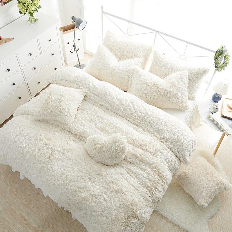 الأبيض الوردي الصوف طقم سرير الملك الملكة التوأم حجم الفتيات طقم سرير دافئ لينة غطاء سرير لحاف مجموعة غطاء تنورة نوم بارور دي مضاءة-في مجموعات الفراش من المنزل والحديقة على  مجموعة 1