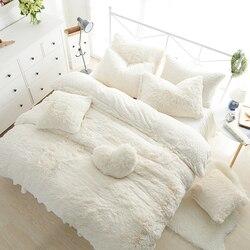 Blanco rosa de lana ropa de cama set Rey reina de tamaño doble chicas cama suave cama de abrigo de Duvet cover set de cama ropa de cama