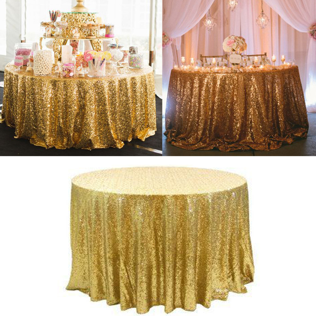 Bling Sequin Round Tablecloth Colorful Table Cloth 120inchround Decoration For Wedding Party Gold Silver Champagne New