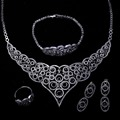 New Women Engagement Jewelry Sets Gold plated with Cubic zircon 4pcs sets ( necklace + bracelet + earrings + ring) free shipment