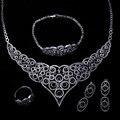 Novas Mulheres de Noivado Conjuntos de Jóias banhado a Ouro com zircão Cúbico 4 pcs conjuntos (colar + pulseira + brincos + anel) remessa livre