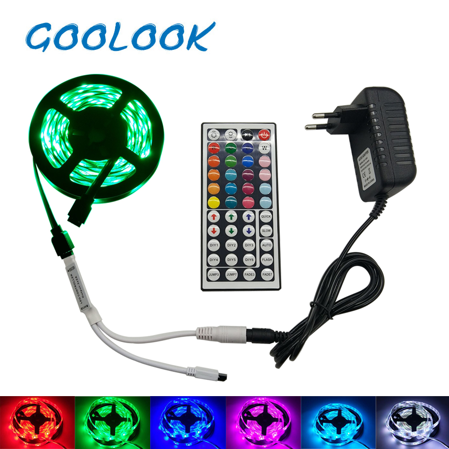 LED Strip Light RGB SMD 5050 2835 LED Tape 5M Waterproof LED Flexible strip diode lighting Ribbon controller DC 12V Adapter set 10m 5m 3528 5050 rgb led strip light non waterproof led light 10m flexible rgb diode led tape set remote control power adapter