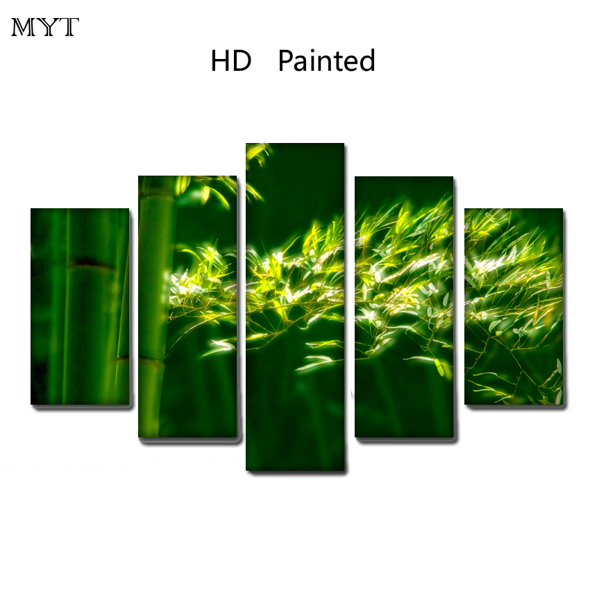 HOT sale Bamboo leaves cheap HD Printed on Canvas Print Painting Modern Landscape Wall Art Picture For living room Home Deco