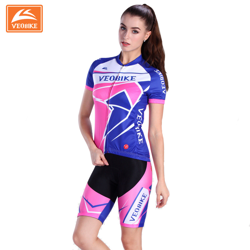 Veobike 2017 Pro Women Cycling Jersey MTB Cycling Uniform Breathable GEL Padded Shorts Outdoor Sport Short-sleeve Bike Clothing