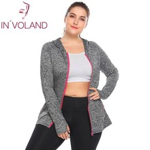 IN'VOLAND Plus Size Women's Hoodie Coat Workout Zip Up Slim Fit Mottled Casual Lady Vigor Large Jacket Tops Plus Size XL-5XL