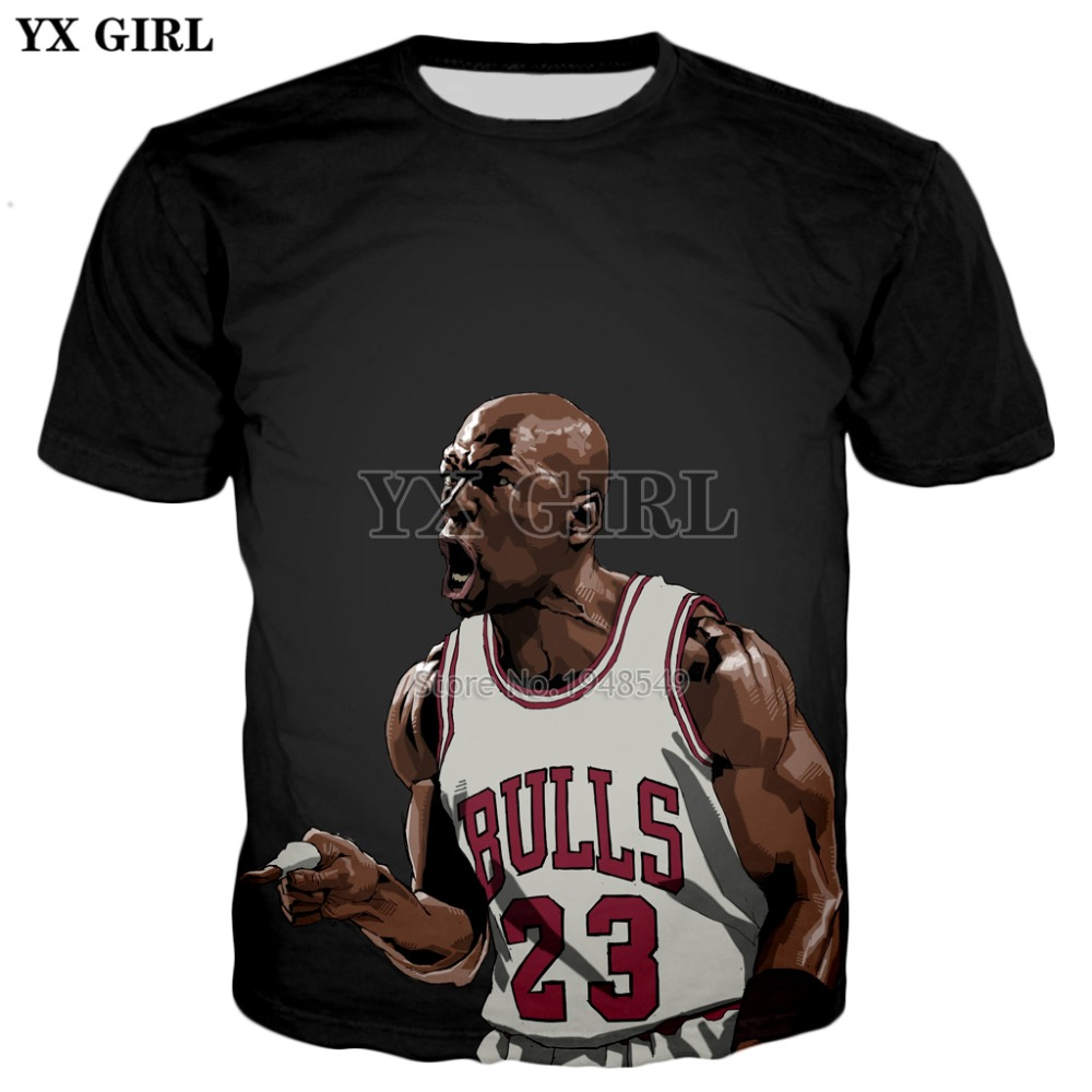 aae4b612f0d2c6 YX GIRL Men Women Fashion t-shirt Jordan roar Funny Anime character  printing T