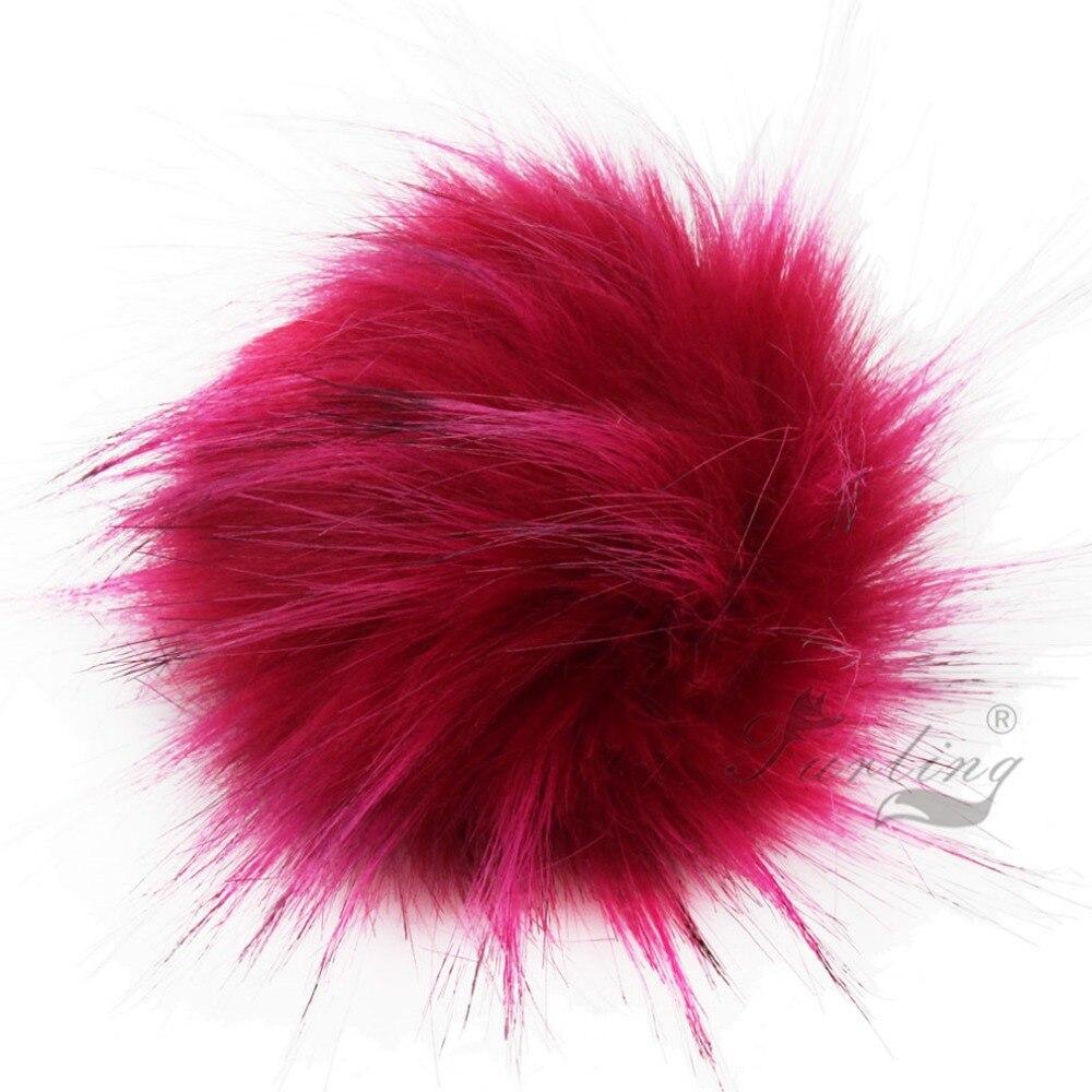 Furling DIY 12pcs Faux Raccoon Krzno 11CM Puhasto Pom Pom Ball za Hat - Modni nakit - Fotografija 2