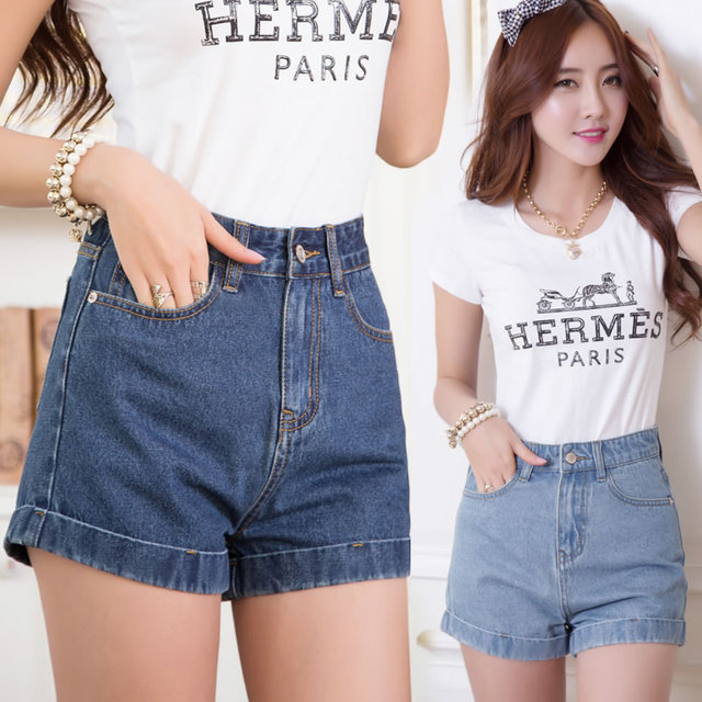 cfcd486c816dd 2016 nuevo Modelo de Corea Floja de Talle alto Skinny Jeans denim Jean  Shorts Europa Victoria