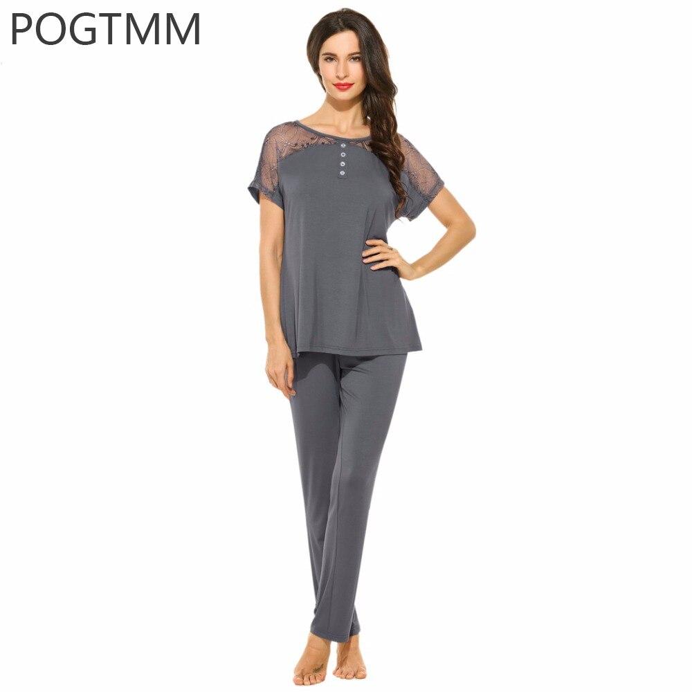 Ladies Sleepwear Suit Short Sleeve Top and Long Pant Pajamas Set Women Night Lace Pyjama Female
