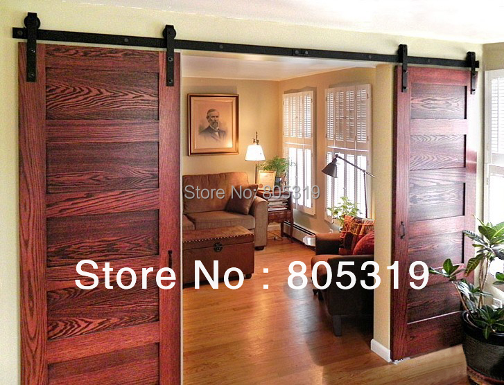 Doble puerta corredera granero granero hardware de la for Puerta granero madera
