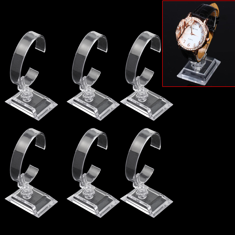 6Pcs Clear Plastic Bracelet Watch Organizer Show Stand Holder Jewelry Display