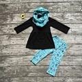 TRAJES de bebé de invierno niñas 3 unidades conjuntos con la bufanda conjuntos niñas ropa de los bebés top negro con azul carpa carpa trajes pantalón