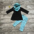 baby winter OUTFITS girls 3 pieces sets with scarf sets girls tent clothing baby girls black top with blue tent pant outfits