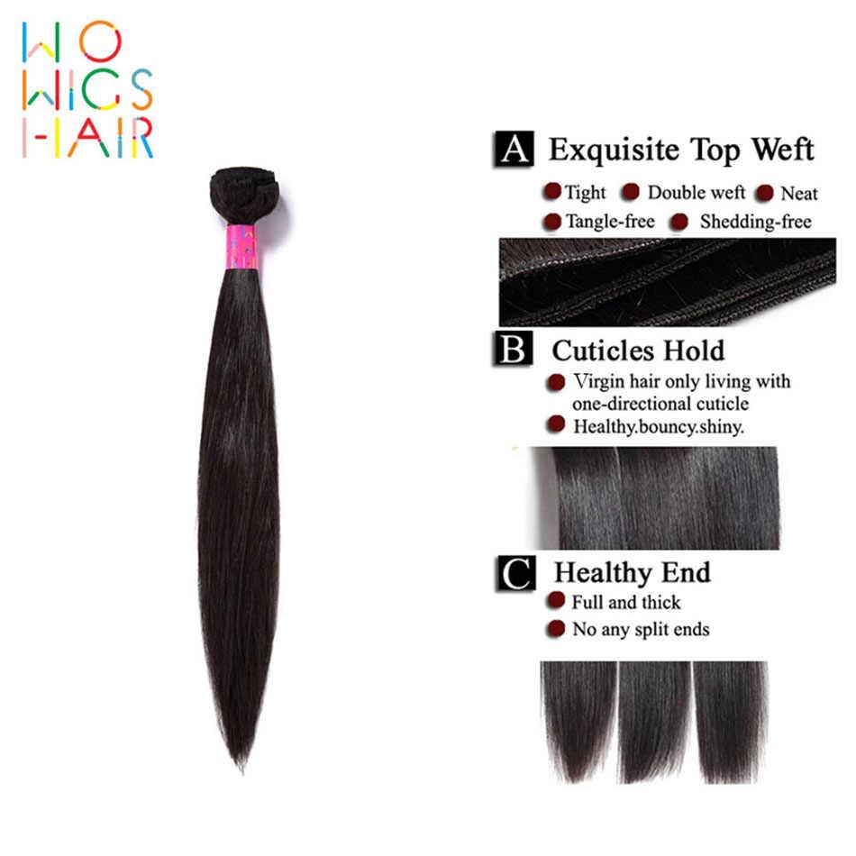 WoWigs волосы индийские прямые волосы для наращивания 100% человеческих волос Плетение 4 шт Бесплатная доставка пучки волос Remy сделки натуральный цвет