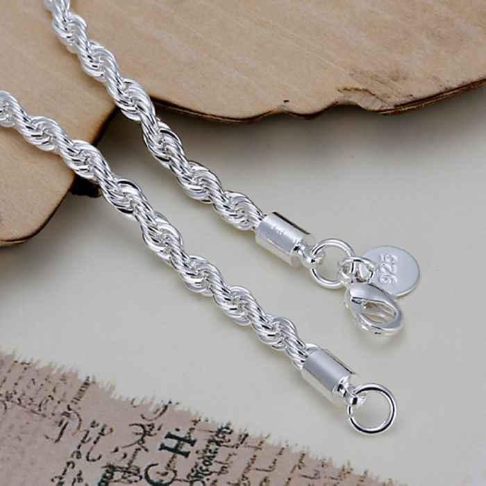 Miễn phí vận chuyển mua sắm trực tuyến Ấn Độ 925 trang sức bạc mạ Flash xoắn sợi dây đeo tay nam Collier yếm SMTH207