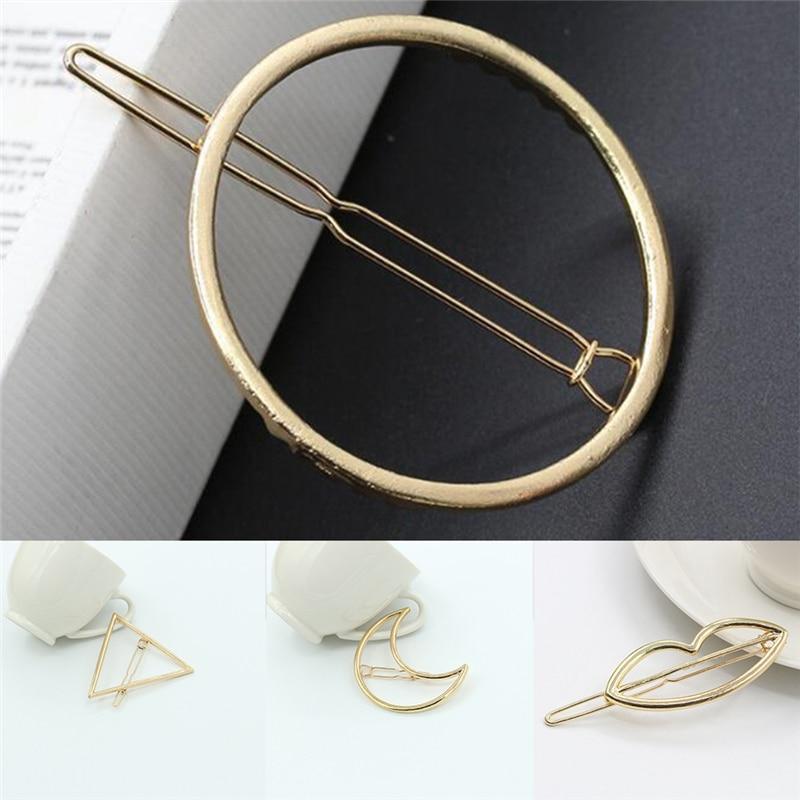 Hairpins Triangle Moon Hair Pin Jewelry Lip Round Hair Clip For Women Barrettes Head Accessories Bijoux De Tete Brand New