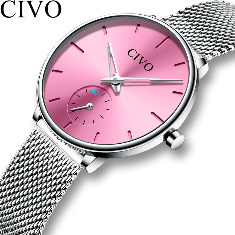 CIVO Fashion Casual Watches Ladies Waterproof Sliver Steel Mesh Quartz Watch Women Birthday Gift For Wife Clock Relogio Feminino