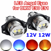 2 Pieces 1 Set 2 6W 12W LED Marker Angel Eyes Bridgelux Chip White Blue For