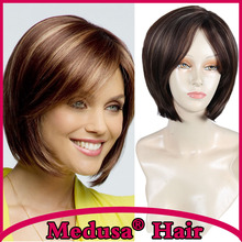 Medusa hair products: Synthetic wigs for women Classic bob style Medium length straight Mix color Mono wig with bangs SW0042B