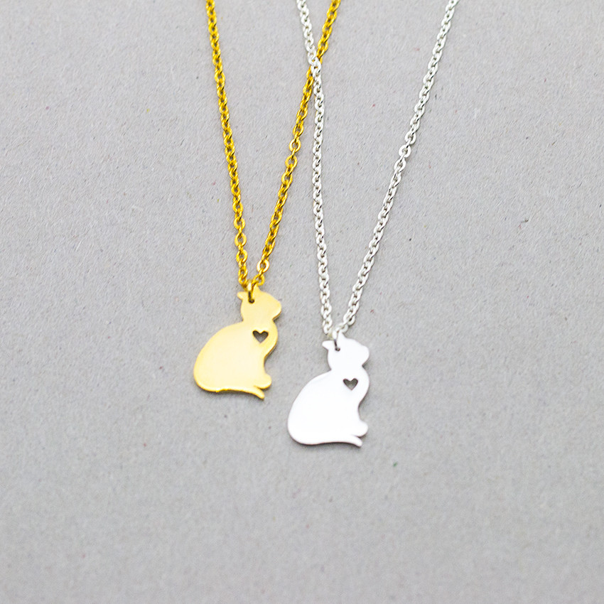 10pcs Gold Color Animal Puppy Heart Cat Necklaces Jewelry Personalized Best Friend Gift Lover Memorial Necklace Pet Collier