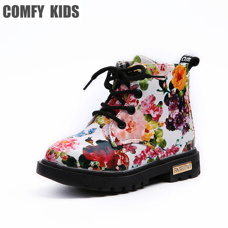Comfy Kids Shoes Floral Martin Boots For Girls Botas Elegant Flower Print PU Leather Shoes Child Rubber Soled Boots Brand Bottes