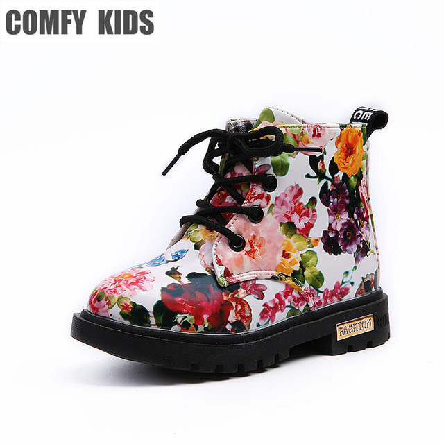 f88cf766768 Zapatos cómodos para niños Botas Martin florales para niñas Botas elegantes  de cuero PU con estampado