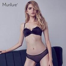 Munllure女性の夏カップ光沢のあるセクシーな薄型ブラジャープラスサイズのシームレスな下着セット肌の色