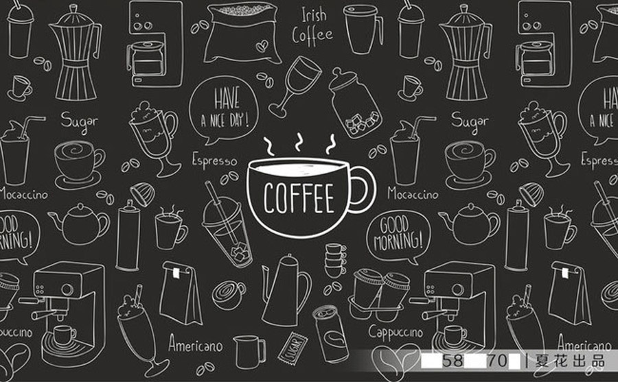 Diy 3d retro personality large mural painted coffee theme for Mural coffee shop