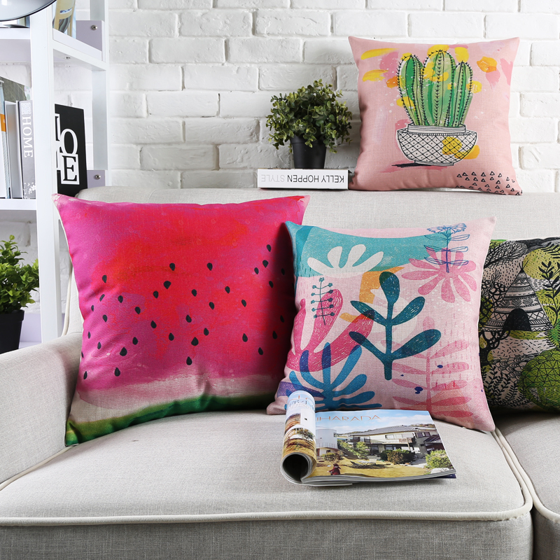 2017 ink plant Cushions For Sofas Southeast Asian style Decorative