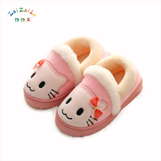 2017 new cartoon cotton slippers men and women baby cute home non-slip warm package with wool plush thickening slippers