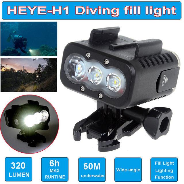 Envío libre! lo nuevo go pro accesorios impermeable subacuática buceo led luz lámpara spot para sj4000 sjcam gopro hero 5 gitup git2