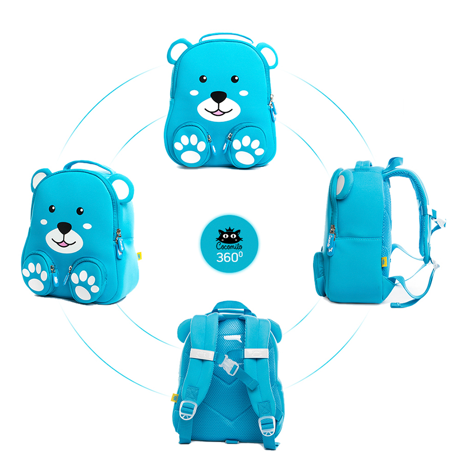 2035cc327283 Quality Waterproof 3D Bear Anti lost School Bag Sky Blue Baby Backpack Zoo  Animal Toddler Bag Boys Little Kids Kindergarten Bag-in School Bags from  Luggage ...