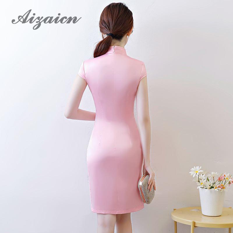 dd989f9c3d ... Beautiful Qipao Flower Girl Mini Modern Chinese Dresses Vintage Summer  Pink Cheongsam Elegant Dress Women For ...