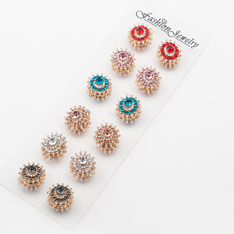 Muslim Magnet Hijab Pins Crystal Brooches Wedding Jewelry Wholesale 12PCS Brooch For Women Safety Scarf Pin Hijab Mixed Color