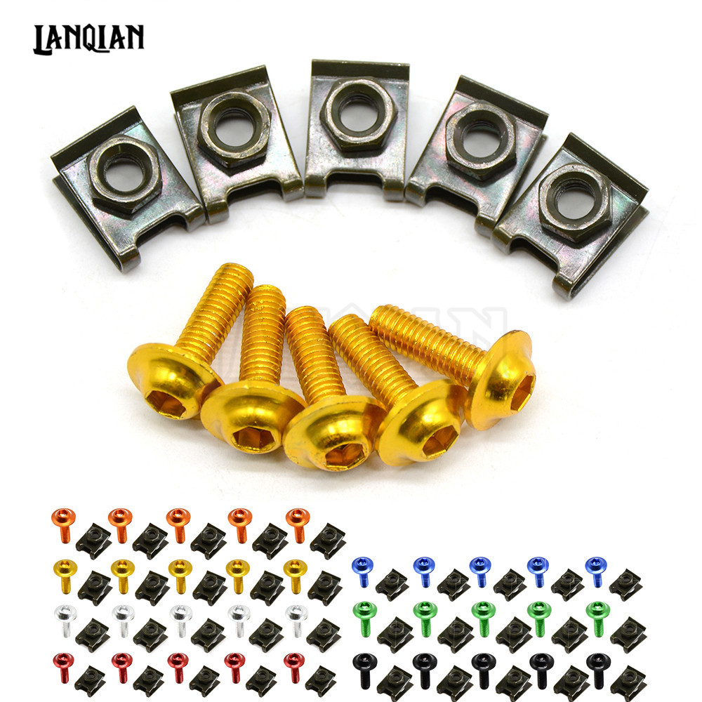 6mm Motorbike CNC Fairing body work Bolts Screws 5 pcs For Suzuki DL650/V-STROM GS500 GSF 600 Bandit S-X GSF 600S