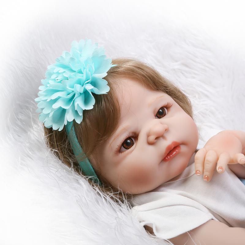 Réel comme 57 cm princesse bébé poupées étanche 23 pouces plein Silicone vinyle corps bébés renaître enfants jour cadeau pour mère enfant - 4