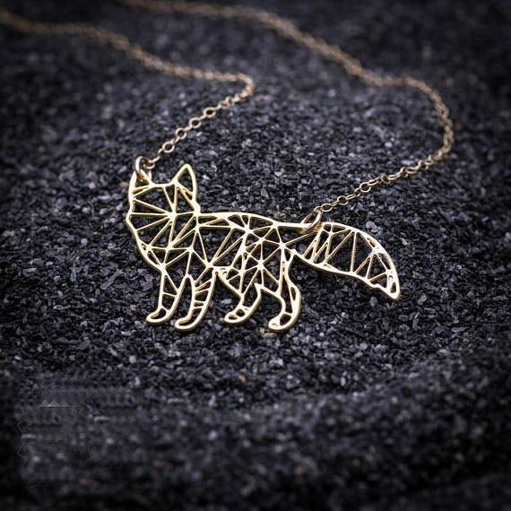 Gold Minimalis Fox Necklace Origami Gold