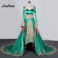 Real Photo Kaftan Arabic Green Evening Dresses Long Sleeve 2017 Arabian Maxi Dress Prom Dresses Vestido