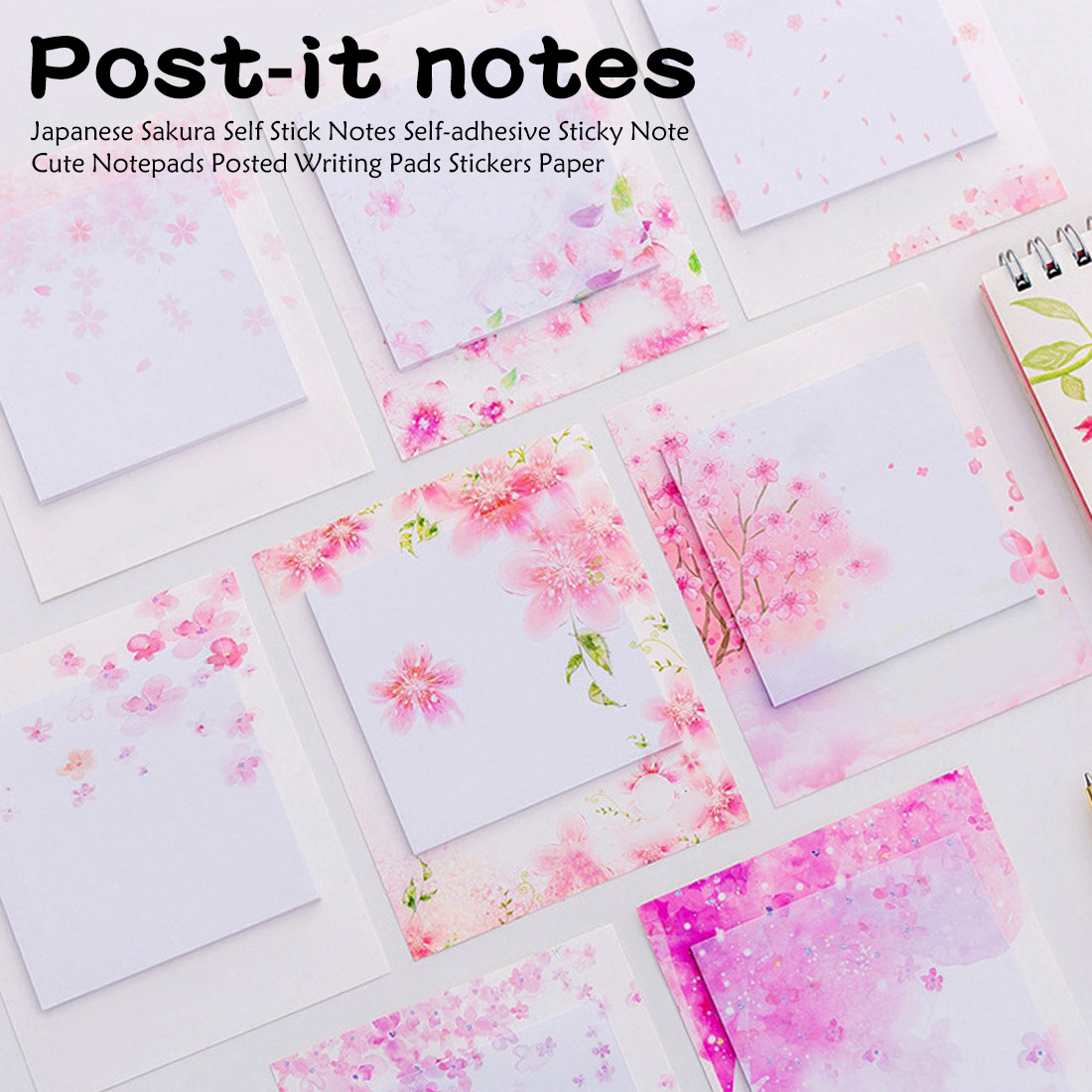 Beautiful Cherry Blossom Post-it Notes In Japanese Style Fresh And Tearable Notebook For Students To Paste N Times