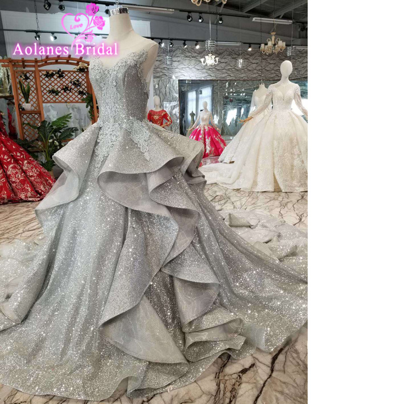 Arabia Saudita de encaje gris inflamados baile de graduación vestidos 2019 Abendkleider apliques largo sin espalda vestidos rufuless bola Vintage vestidos