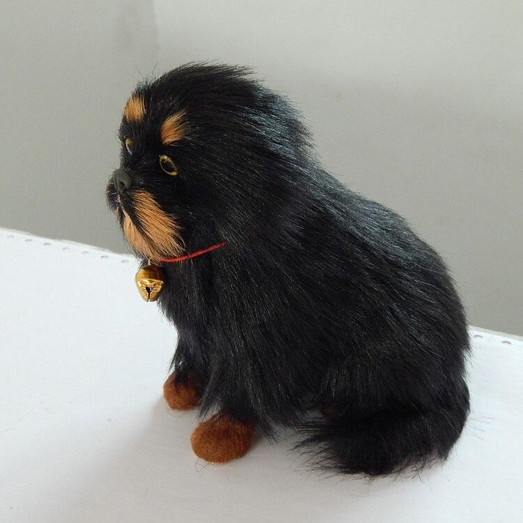 a pair cute simulation dog model resin/&fur small Tibetan mastiff dolls 11x8x13cm
