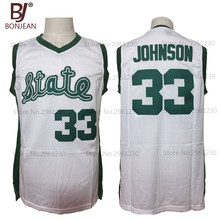 2017 New Cheap Magic Earvin Johnson #33 State College Throwback Basketball Jersey White Green Stitched Retro Mens Shirts