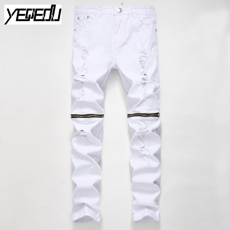 #2721 2017 Skinny Hip hop jeans Men biker jeans Fashion Mens distressed jeans Red/Black/White ripped jeans Bikers Pantalon homme
