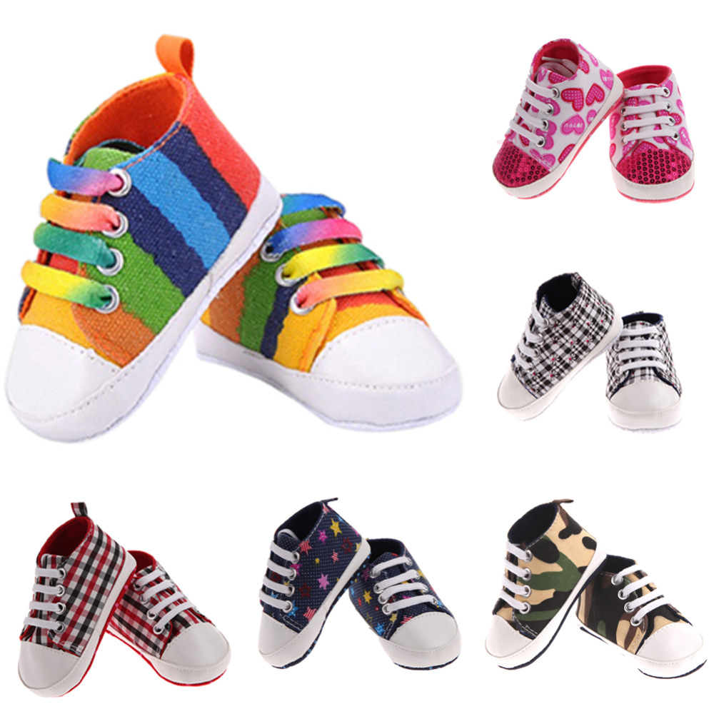 Baby Shoes For Girls Kids Sports Sneakers Footwear for Newborn Soft Anti-slip Canvas Prewalkers Shoes For Children Babyies