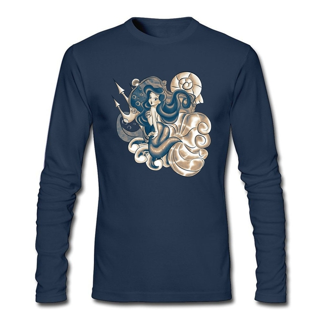 b627a231bc9f Large Size Discount The Little Mermaid T-shirts Men Black Camisetas Screen  Printing The Dark Mermaid Princess tshirt for Men