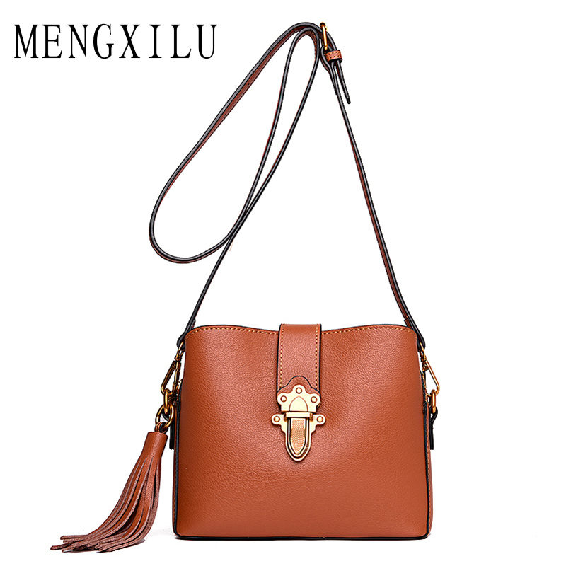MENGXILU Tassel Luxury Handbags Women Bags Designer Lock Crossbody Bags For Women Messenger Bag Ladies Shoulder Sac A Main New trenadorab velour shoulder bag women bag luxury handbags designer brand ladies chain velvet crossbody messenger bags sac a main